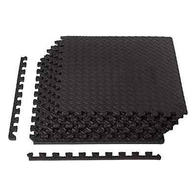 7. AmazonBasics Exercise Training Puzzle Interlocking Flooring, Black