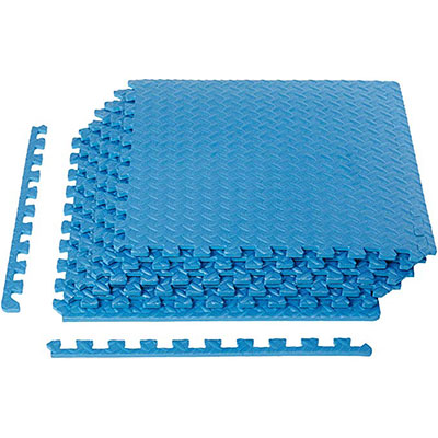 5. AmazonBasics Exercise Training Puzzle Interlocking Flooring, Blue