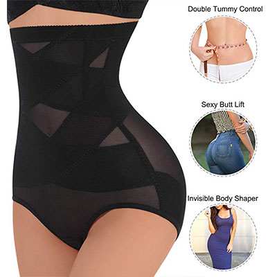4. Nebility Women Hi-Waist Double Tummy Control Body Shaper