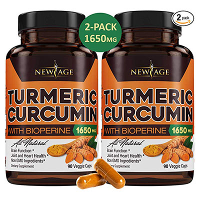 1. 2-Pack Turmeric Curcumin by New Age
