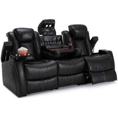 1. Seatcraft Omega Black Home Theater Seating Media Sofa Power Recline
