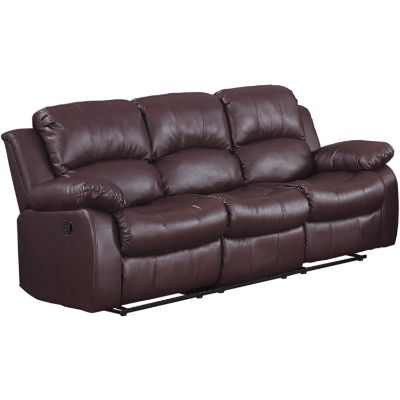 8. Homelegance Resonance Double Reclining Sofa, Brown