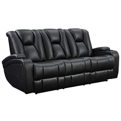 7. Delange Reclining Power Sofa, Black