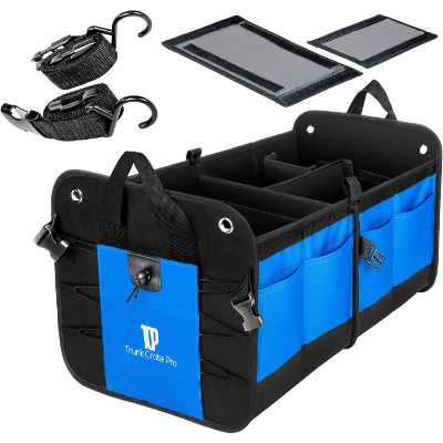 6. TRUNKCRATEPRO Collapsible Cargo Trunk Organizer Storage, Blue