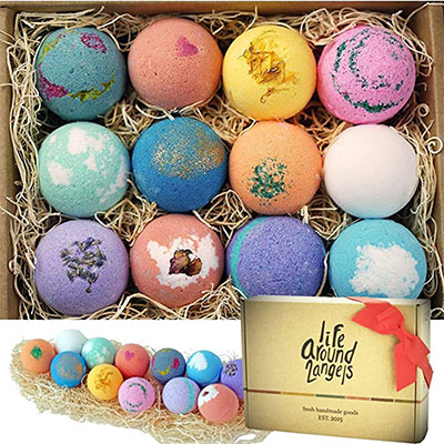 10. LifeAround2Angels Bath Bombs Gift Set 12
