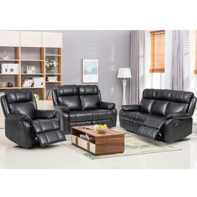 9. FDW Recliner Sofa Set (Black)