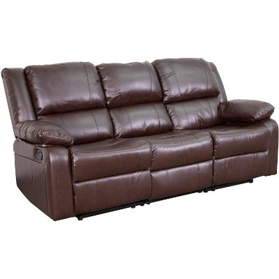 5. Flash Furniture Harmony Series Leather Sofa, Brown