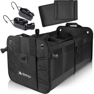 4. Starling's Car Trunk Organizer - (Black, 2 Compartments)