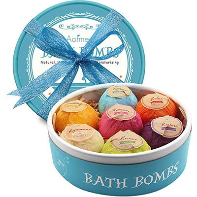 5. Aofmee Bath Bombs, 7 Pcs Fizzies
