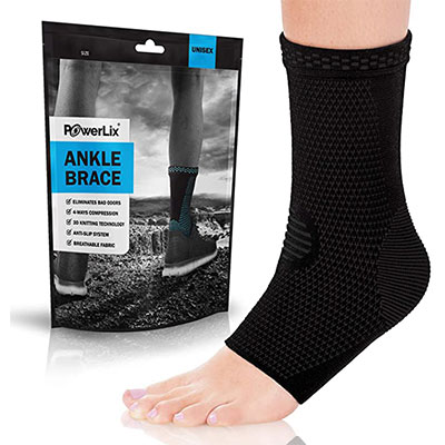 8. POWERLIX Ankle Brace Compression Support Sleeve (1 Pair)
