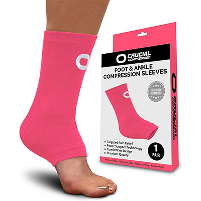 9. Crucial Compression Ankle Brace Support Sleeve (1 Pair)